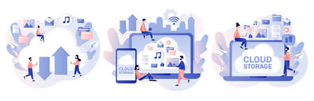 Cloud storage. Cloud computing services. Data processing. Tiny people place data, music, photo, video in big cloud server. Modern flat cartoon style. Vector illustration on white background