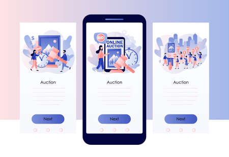 Online Auction concept. Tiny people bidder, buyer and auctioneer bidding in public auction. Paddle with BID text. Hammer. Screen template for mobile, smartphone app. Modern flat cartoon style. Vector