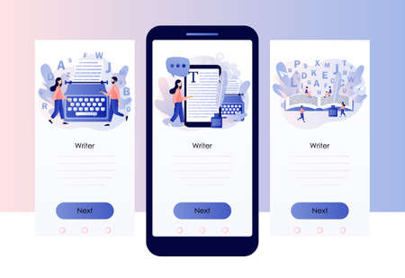 Professional writer, author, redactor, journalist, copywriter, content manager, blogger. Tiny people typing or write text. Screen template for mobile, smartphone app. Modern flat cartoon style. Vector
