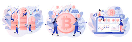 Crypto currency. Bitcoin, altcoin. Digital web money. Blockchain. Fintech industry. Business, finance. Tiny people trading and investing. Modern flat cartoon style. Vector illustration