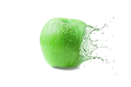 Wet juicy green apple Stock Photo