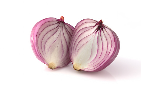 caller: Cut onion on white background