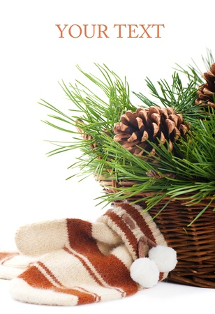 coldly: Mittens and pine branches in the basket Stock Photo