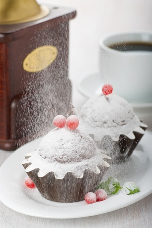 powdered sugar: Chocolate muffins sprinkled with powdered sugar Stock Photo