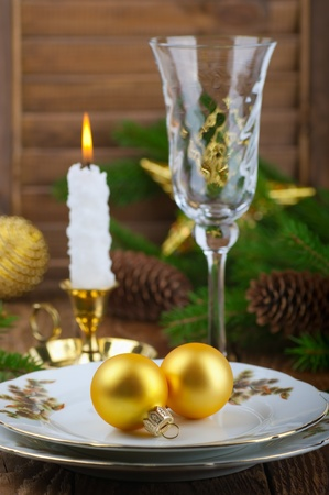candle flame: Serving Christmas table