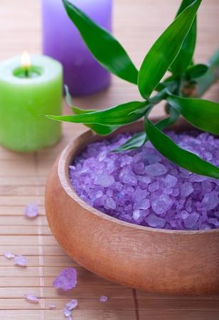 crystal bowl: Sea salt and candles and bamboo