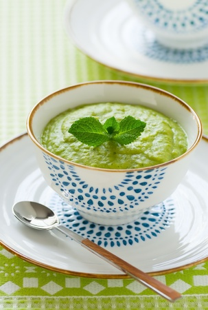 A thick vegetable soup with mint photo