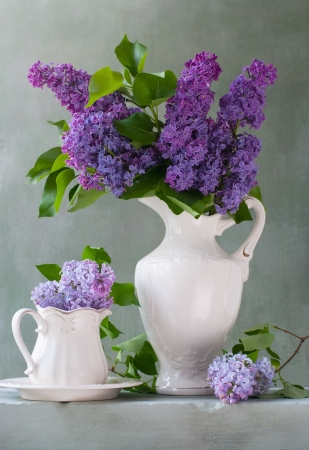 Bouquet of lilacs in a white jug photo
