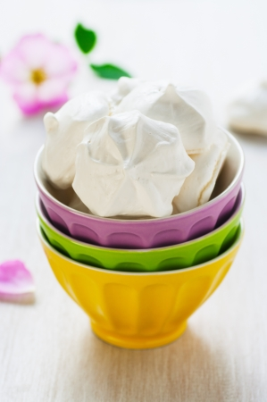 Meringue cookies in the colorful bowl Stock Photo - 14405435