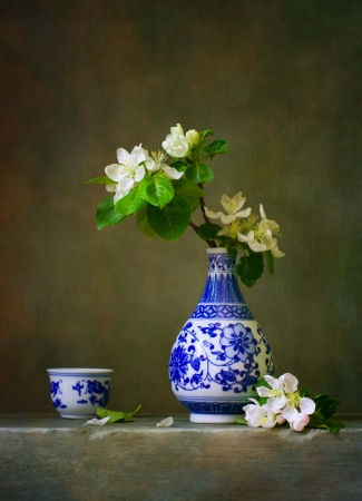 porcelain flower: Still life with blooming apple branch