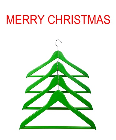 Clothes hangers in the form of a Christmas tree  Christmas creativity  photo