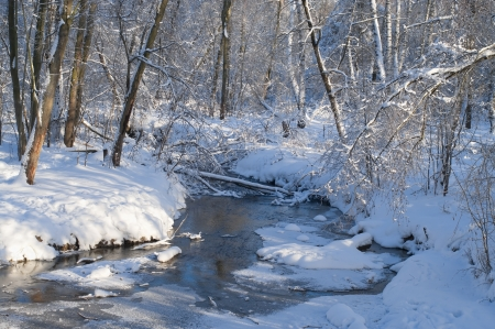 creeks: Winter landscape with frozen river Stock Photo
