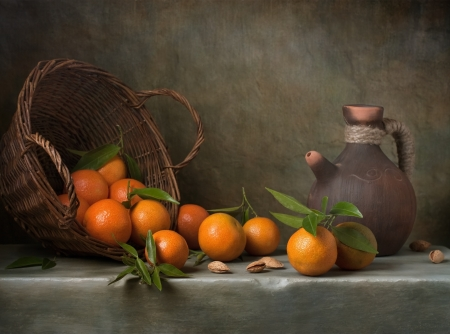 tangerines: Still life with tangerines and basket