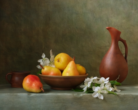 stone bowl: Still life with pears in a bowl Stock Photo