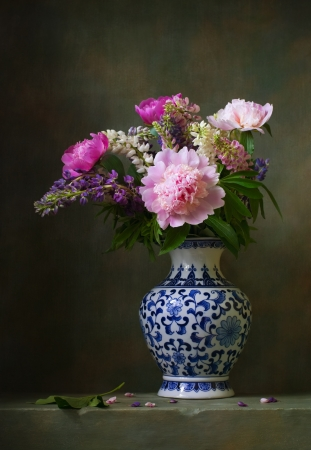 antique vase: Still life with peonies in a chinese vase Stock Photo