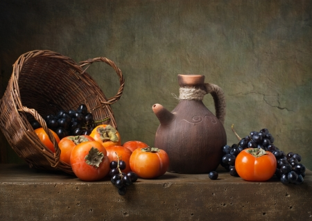 still life: Still life with persimmons and grapes on the table