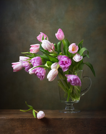 Still life with colorful tulips photo