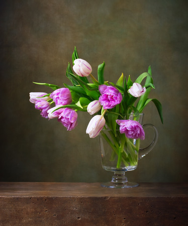 paintings: Still life with colorful tulips