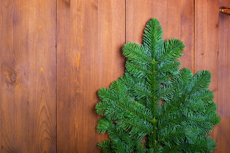 Fir branches on wooden boards photo