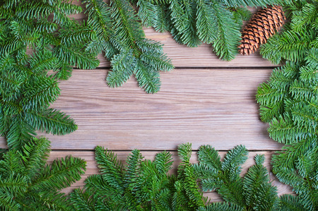 Fir branches with cone on wooden boards photo
