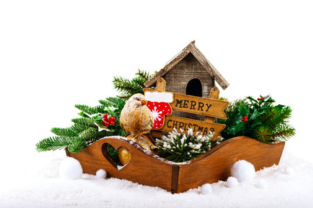 christmas decorations bird birdhouse and fir tree branches in the tray stock photo - Bird House Christmas Decoration