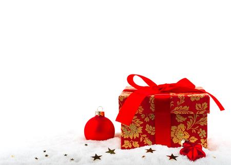christmas present box: Festive box with a Christmas present on the snow