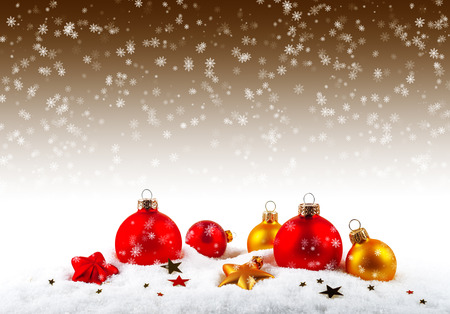 christmas ornamentation: Christmas balls on the snow Stock Photo