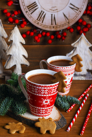 Christmas treat: ginger biscuits and chocolate panna cotta 写真素材