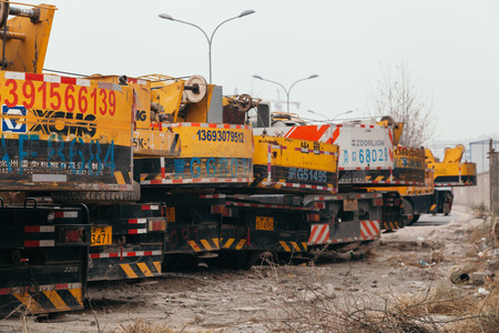 14,Dec,2014 - Beijing China,Yellow Crane trucks,on the road Sajtókép