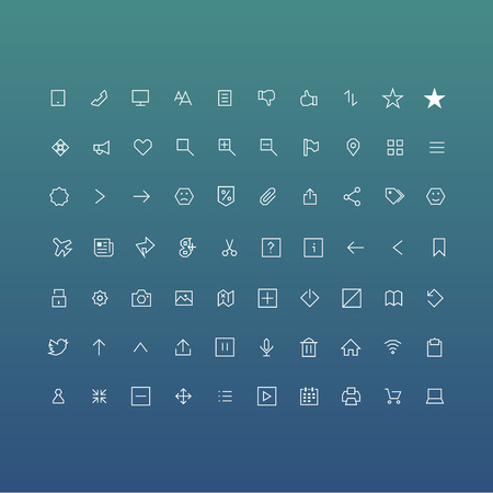 Set of icons with sharp corners