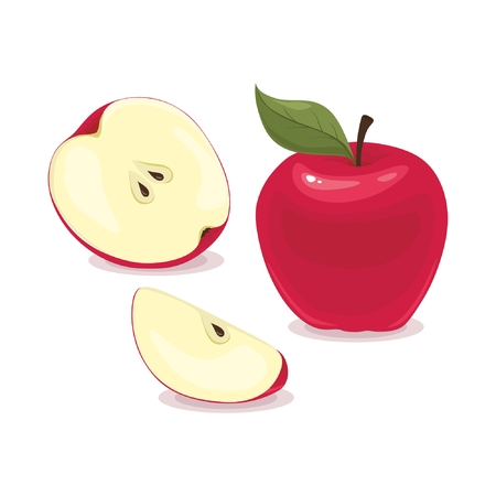 Red apples isolated on white background  イラスト・ベクター素材