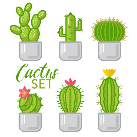 Cartoon Cactus set isolated  イラスト・ベクター素材