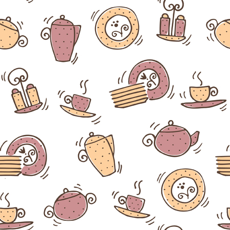 Brown and beige Tea set seamless pattern on the white background