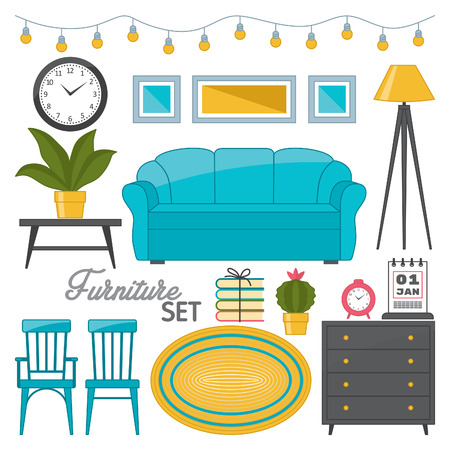 Furniture set, furniture and interior decoration isolated