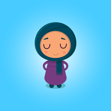 Muslim girl in the flat style on the blue background Çizim