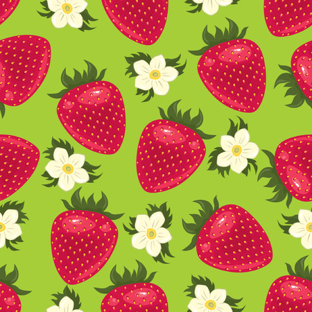Strawberry pattern on the green background  イラスト・ベクター素材