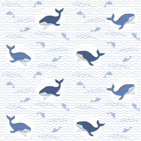 Oceanic background, Whales and sharks on a wavy background  イラスト・ベクター素材