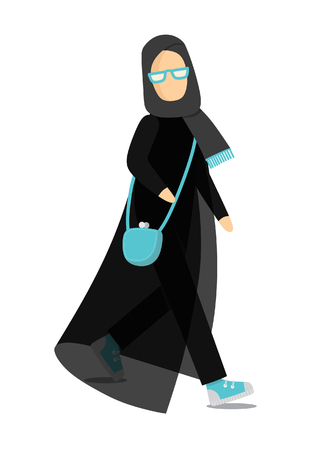 Isolated illustration of the muslim woman in a flat style