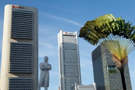 the center of the city: Empresas de Singapur centro de la ciudad, Singapur Editorial