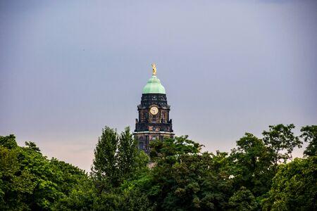 big clock tower in dresden
