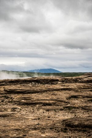 field with geothermal activity