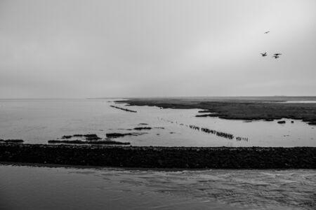 calm and rough north sea Stock Photo