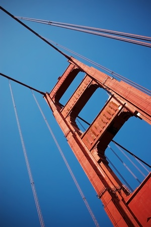A close up detail of Golden Gate Bridge in San Fran photo