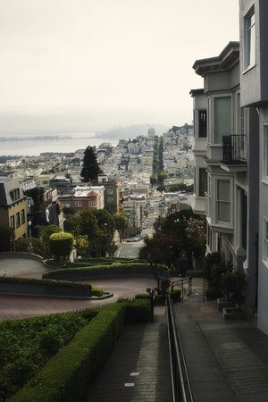 View of a famous San Francisco street early in the morning photo