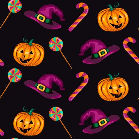 Halloween seamless pattern with pumpkins, whitch hats, candies on dark background. 스톡 콘텐츠 - 154503566