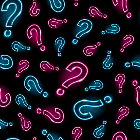 Neon question mark seamless pattern with pink and blue icons on black background. Quiz, interrogation, problem, faq concept. Night signboard style. Vector 10 EPS illustration. Ilustracja