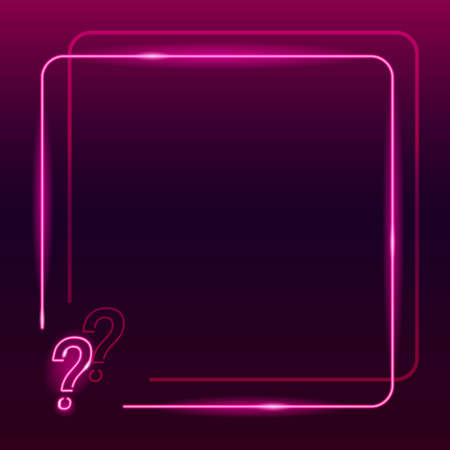 Neon frame with question mark icon on dark purple gradient background. Square textplace template. Quiz, interrogation, faq concept. Night signboard style. Vector 10 EPS illustration.