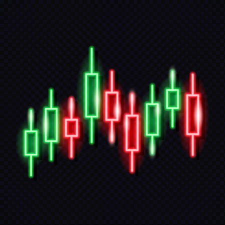 Neon japanese candlestick chart isolated on dark background. Stock exchange market concept. Financial infographics. Design element for glowing signboard. Vector 10 EPS illustration. Vektorové ilustrace