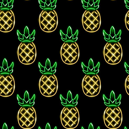 Neon pineapples seamless pattern. Summer, exotic, tropical, food concept. Golden glowing ananases icons on black background. Vector 10 EPS illustration.