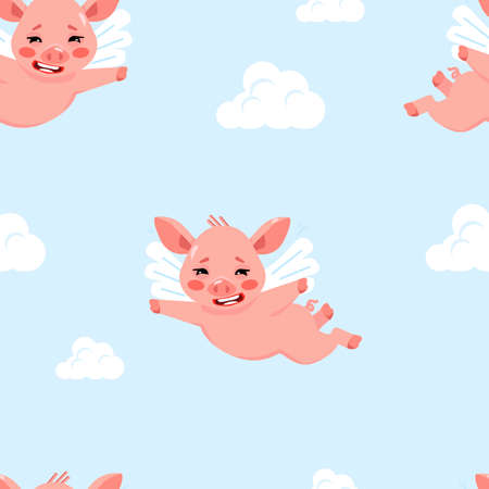 Cute seamless pattern with little flying pigs and clouds. Cartoon character of sign of year 2019.